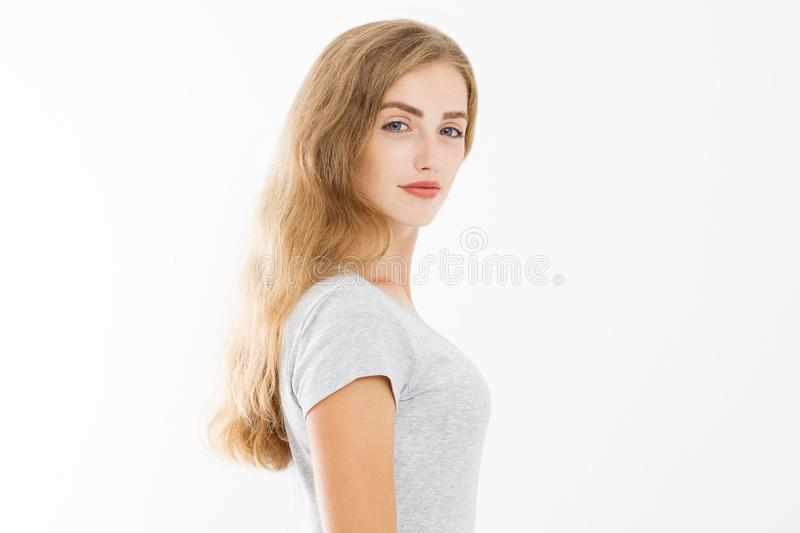 Closeup Beautyful woman face isolated on white background. Skin care and hair care concept. Happy blonde girl nature beauty. Copy. Space and summer time royalty free stock photo