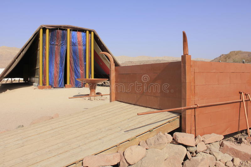 Closeup of Biblical Tabernacle Model in Israel royalty free stock photo