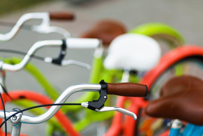 Closeup of bicycle's handlebars and saddles stock photography
