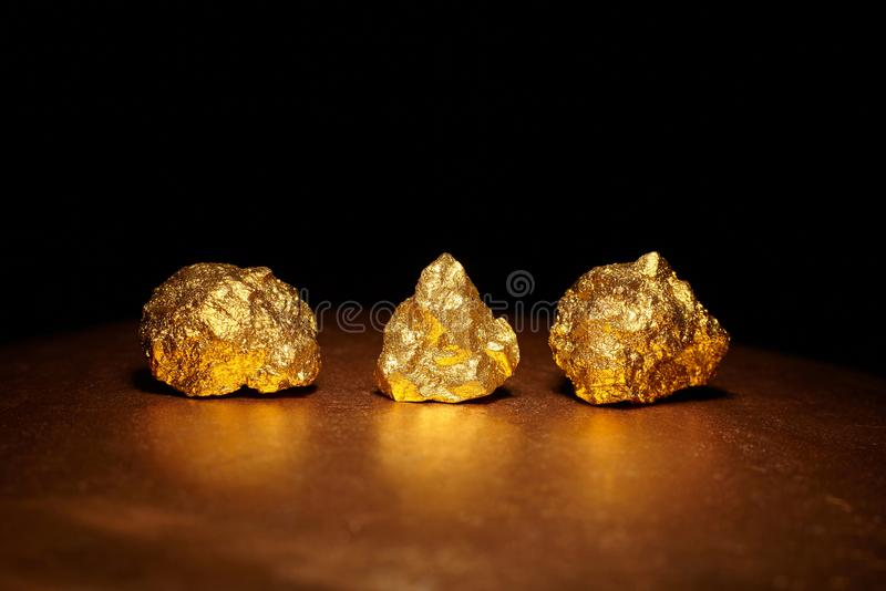 Closeup of big gold nuggets royalty free stock photography