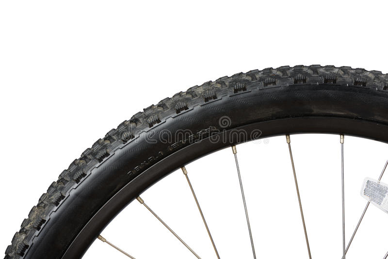 Closeup of bike tire. Closeup of MTB (Mountain bike) tire, isolated on white stock photography