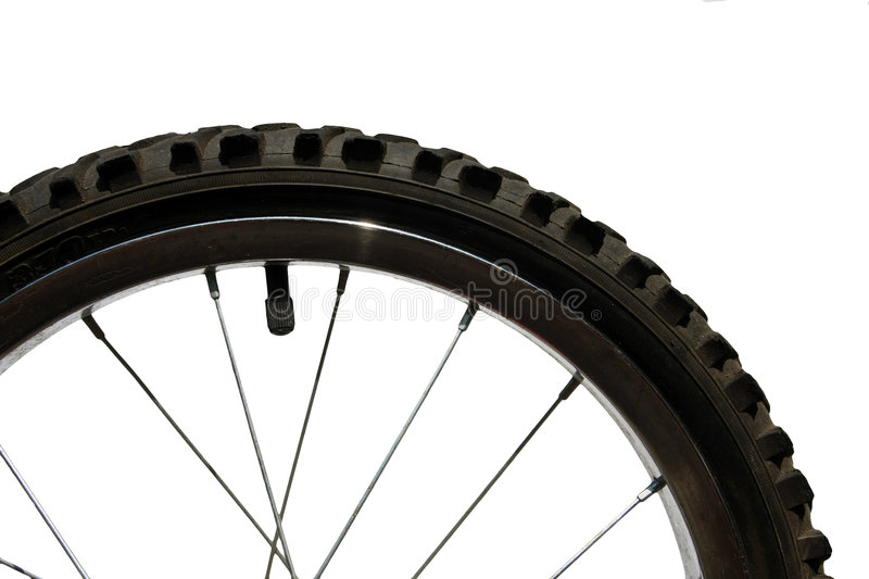 Closeup of bike wheel. Isolated on white royalty free stock images
