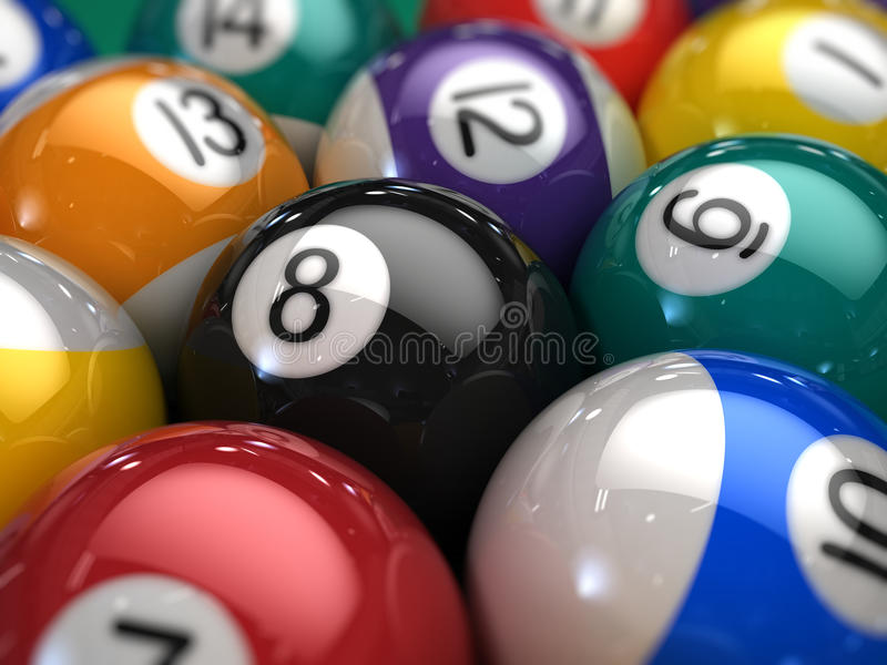 Closeup of Billiard balls on a pool table royalty free stock image