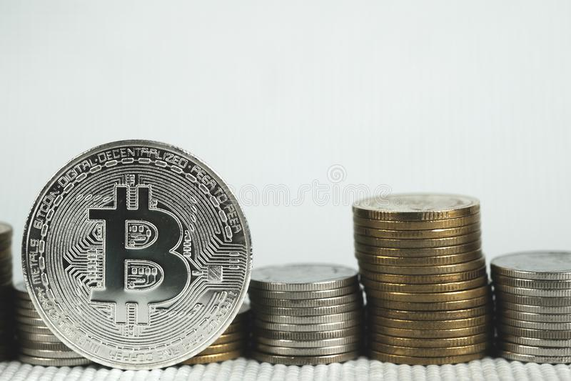 Closeup of bitcoin digital currency and coin money stack, Cryptocurrency money financial and business concept stock photo