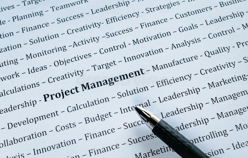 Closeup of Word Project Management with related Words stock image