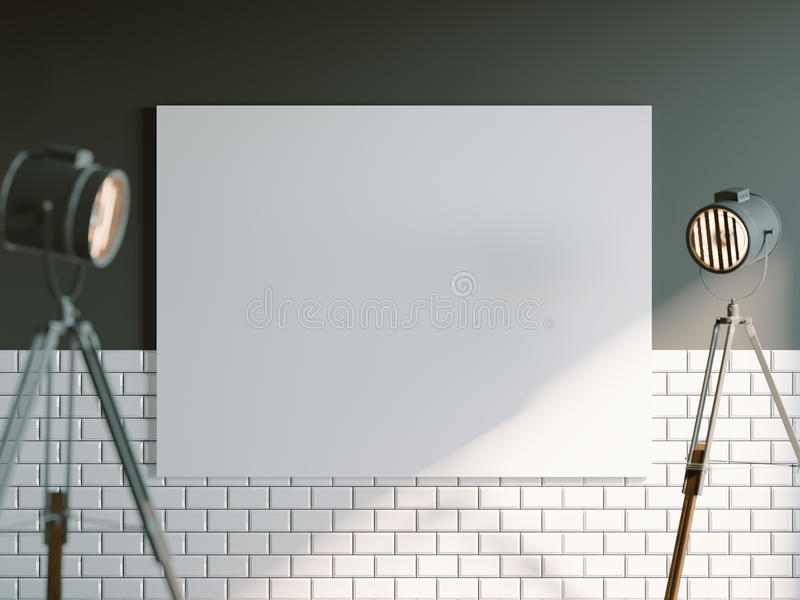 Closeup with blank white canvas and loft industrial floor projector lamp. Light interior. 3d rendering. Closeup with blank white canvas and loft industrial floor royalty free illustration