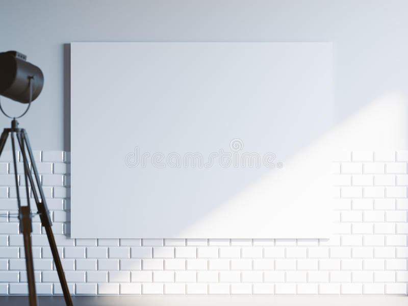 Closeup with blank white canvas and loft industrial floor projector lamp. Light interior. 3d rendering. Closeup with blank white canvas and loft industrial floor vector illustration
