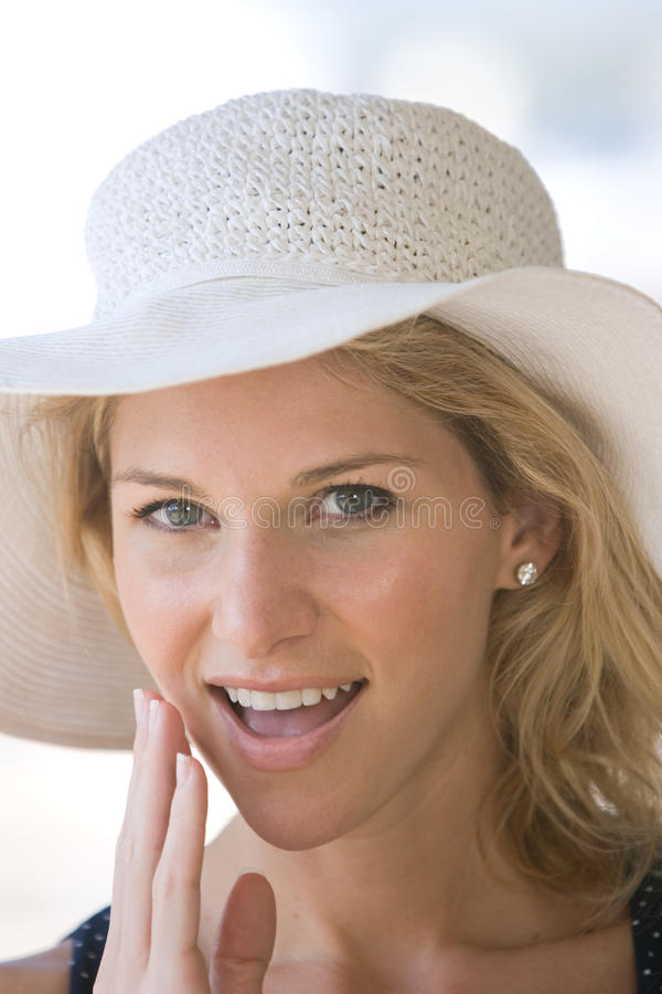 Closeup blonde lady smiling stock images