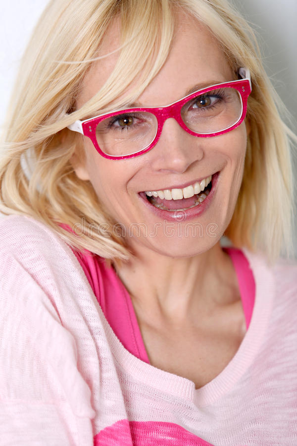Closeup Of Blonde Woman With Eyeglasses Stock Image - Image Of Attractive, Pink 31103471