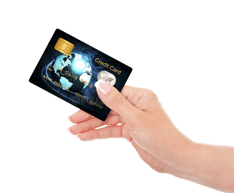 Closeup of blue credit card holded by hand over white