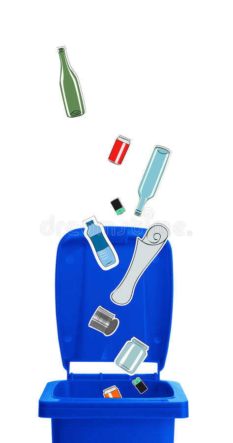 Closeup of blue recycle bin. With open lid and recyclable materials stock illustration