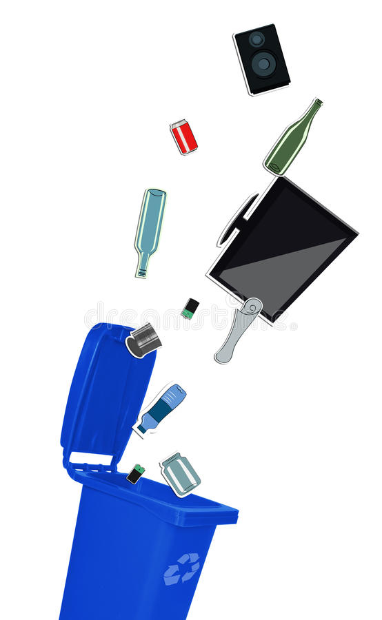 Closeup of blue recycle bin. With open lid and recyclable materials royalty free illustration