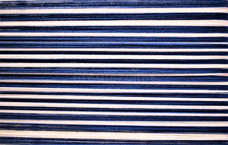 Closeup of Blue and white striped warp. Weaving. Handweaving. Textiles. Fiber. royalty free stock photo