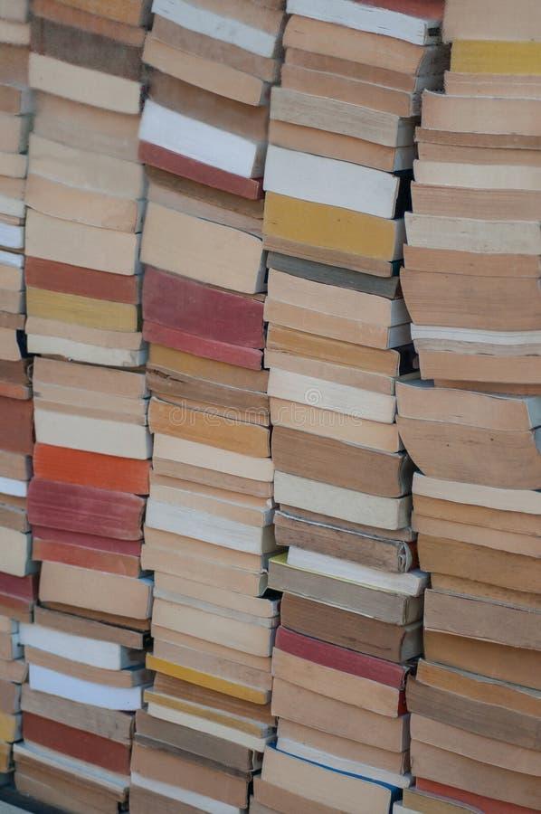 Books pile in Bookstore. Closeup of books pile in Bookstore stock photo
