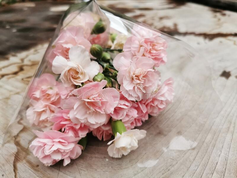 bouquet of pink flowers on table royalty free stock photos