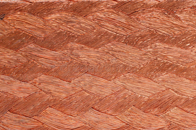 Closeup of braided copper wire for background usage.  royalty free stock image