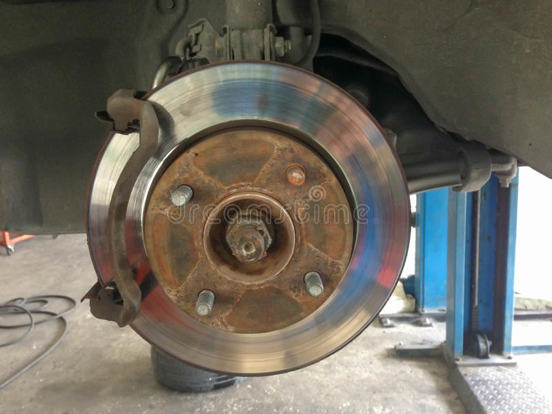 Closeup brake discs of the vehicle for repair. royalty free stock images
