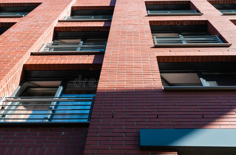 Closeup brick wall apartment building royalty free stock images