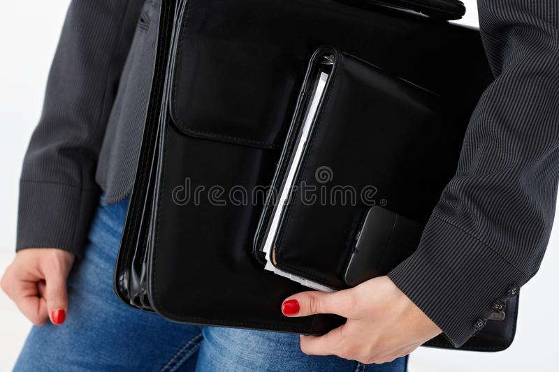 Closeup briefcase and business accessories