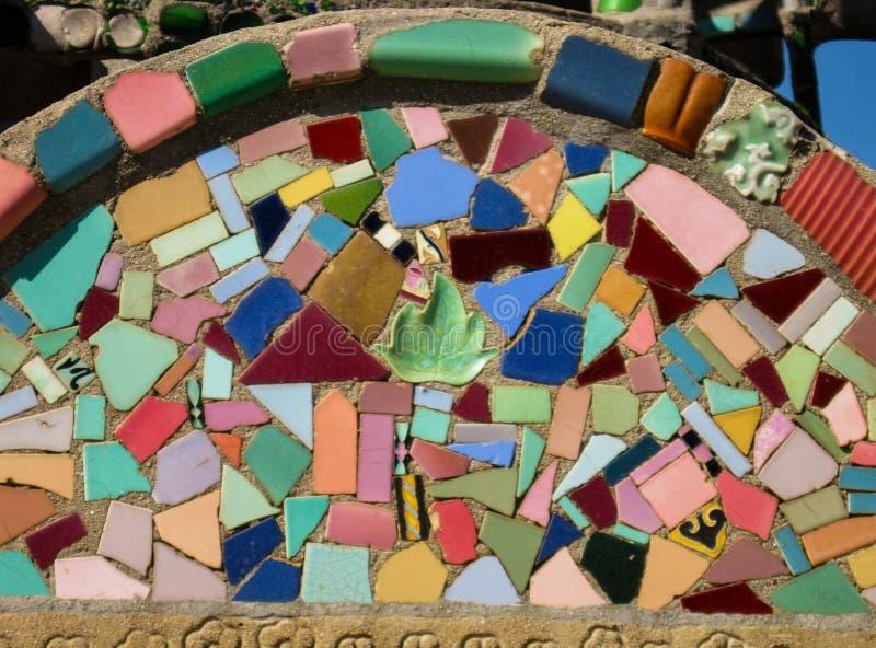 Bright folk art broken pottery collage at historic LA site stock photos