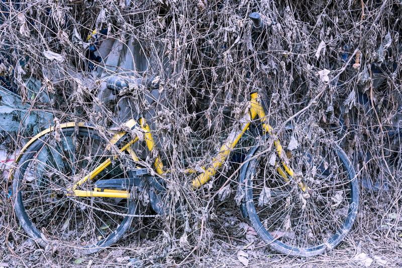 Closeup of a broken bicycle stock photos