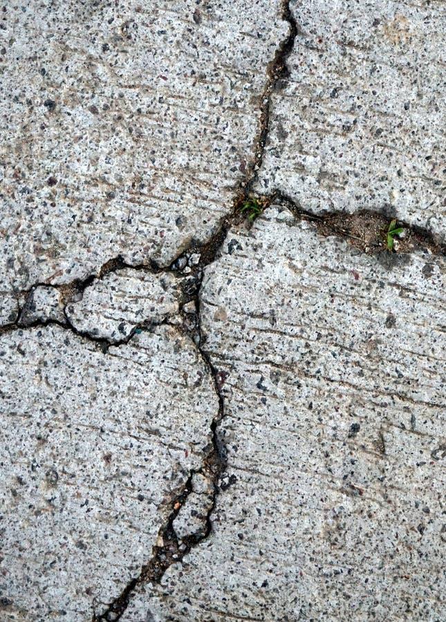 Closeup of broken or damaged cement floor stock photo