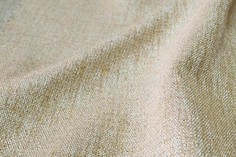 Closeup brown color fabric sample texture backdrop. Strip line brown fabric pattern design or upholstery abstract background. Closeup brown color fabric sample stock images