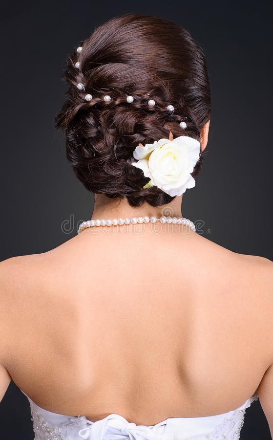 Closeup of brunette bride hairstyle in studio stock photo