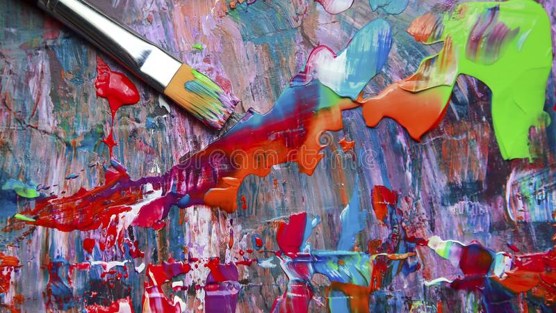Closeup of brush and palette royalty free stock photos