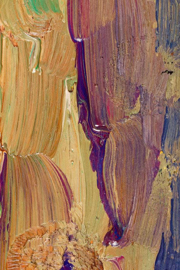 Closeup of brush-strokes of an an oilpainting royalty free stock photo
