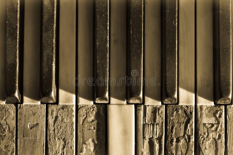 Closeup brutna pianotangenter royaltyfri foto