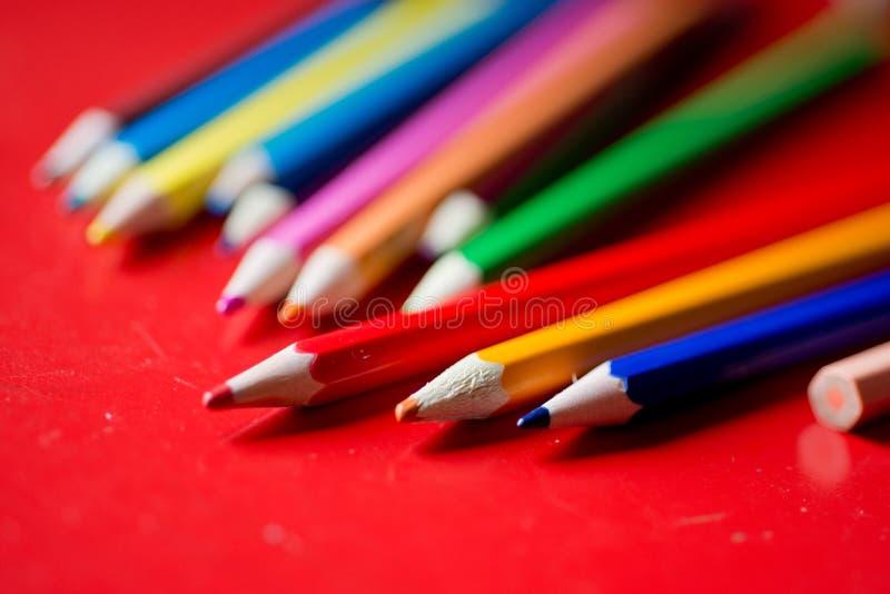 Closeup of a bunch pencils royalty free stock photo