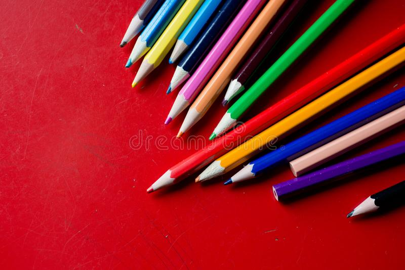Closeup of a bunch pencils royalty free stock photos