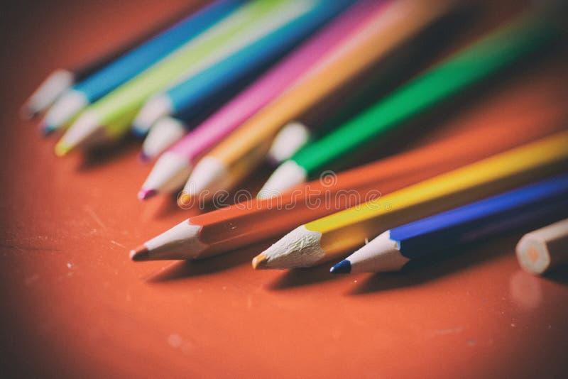 Closeup of a bunch pencils - old look filter stock photo
