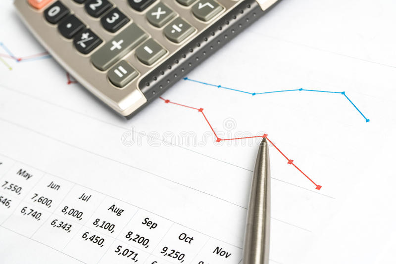 A closeup of a business financial chart with bar and pie graphs. royalty free stock photo