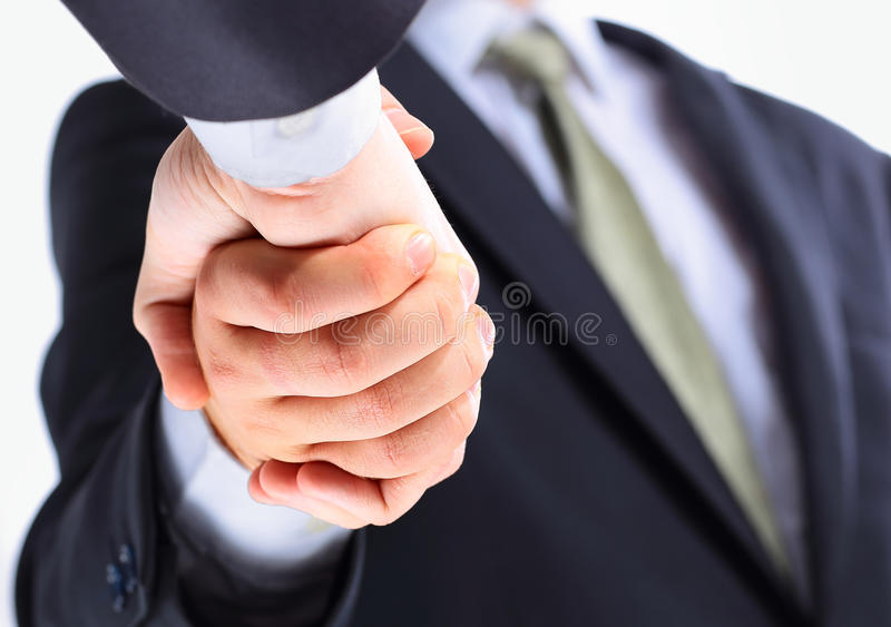 Closeup of a business hand shake royalty free stock photography
