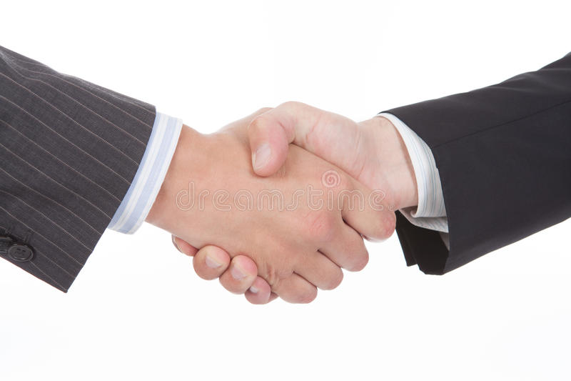 Closeup of a business handshake stock photography