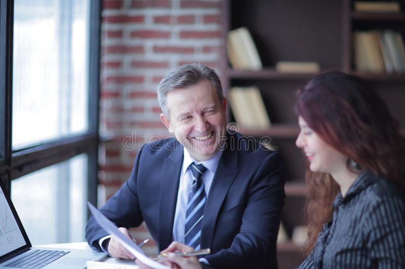 Close up.business partners discussing financial profit. concept of partnership royalty free stock images