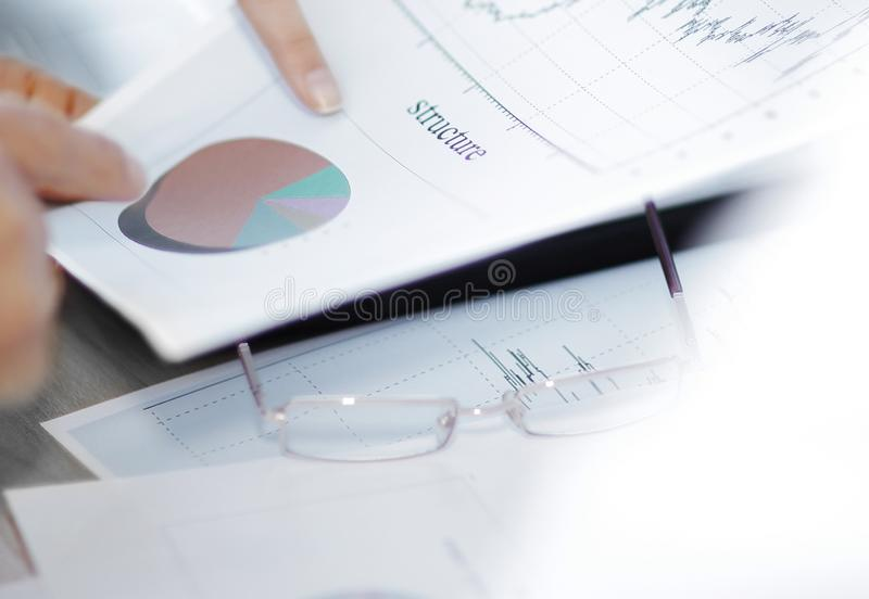 Closeup. business team working with financial documents stock image