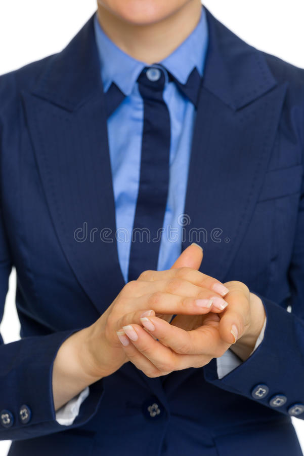 Closeup on business woman clapping. Isolated on white stock photography