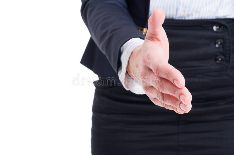 Closeup of business woman hand shake gesture royalty free stock photography