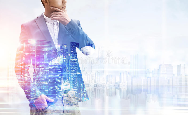 Download Closeup Of Businessman And A City, Morning Stock Photo - Image: 83722125