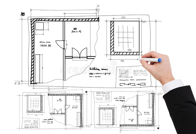 Closeup of businessman hand drawing blueprint stock photo image of business architecture and renovation concept close up of businessman hand drawing blueprint malvernweather Images