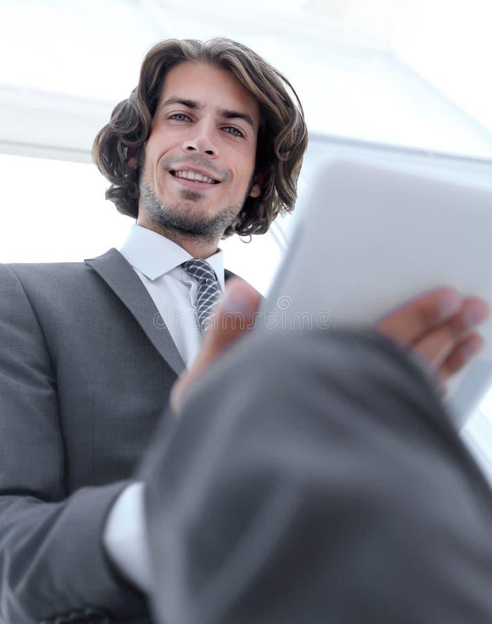 Closeup .businessman working on digital tablet stock photo