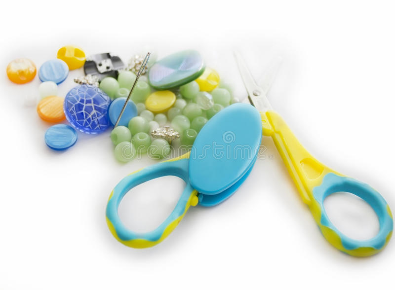 Download Closeup Of Buttons, Needle And Scissors Stock Illustration - Image: 23044552
