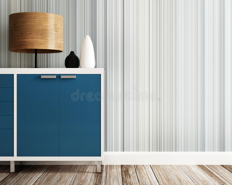 Closeup of cabinet and wood lamp. 3d rendering stock illustration