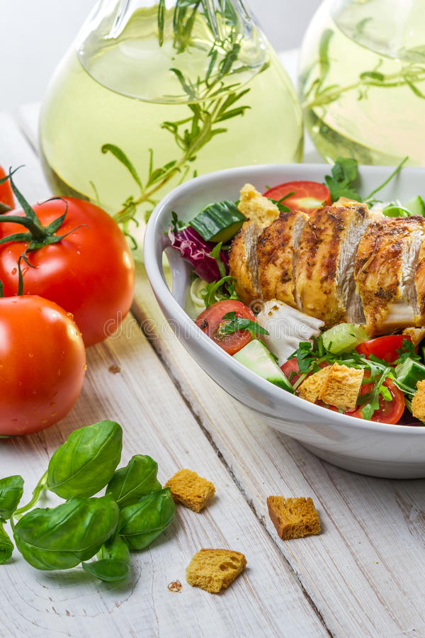 Closeup of Caesar Salad with chicken royalty free stock photo