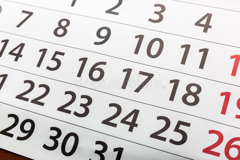 Closeup of calendar stock image