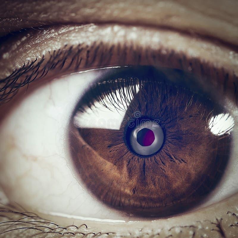 Camera in human eye closeup stock photography