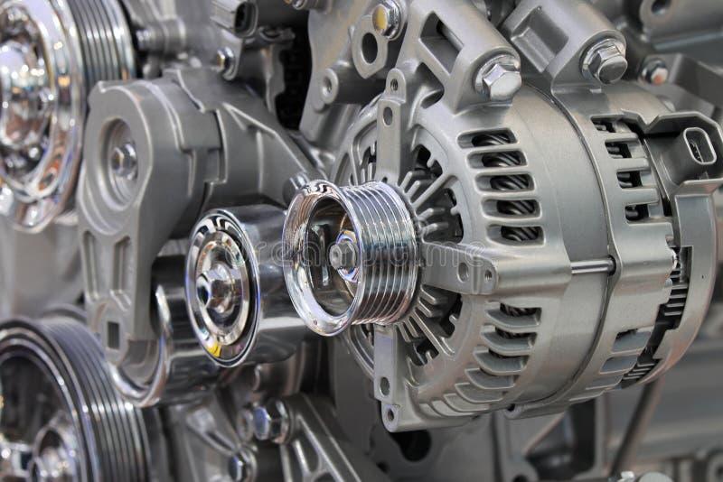 Closeup of a car alternator. Component of car electrical system stock image